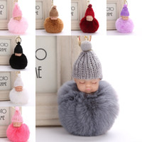 Wholesale knitted character baby hats - Sweet Fluffy Pompom Sleeping Baby Key Chain Faux Rabbit Fur Pom pon Knitted Hat Baby Doll Keychain Car Keyring Toy Trendy Gifts