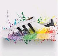 eva cabeça venda por atacado-Tamanho grande EU36-46 Originals Sapatos Masculinos Para Calçados Femininos Sapato Branco Laser Dazzle Cor Superstar Shell Cabeça sapatos casuais Frete Grátis