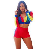 Wholesale shorts suit set for women for sale - New fashion summer tops for women slim bodycon shorts women set long sleeve pieces outfits for women matching suit