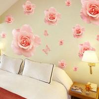 dessins de papier peint fleur rose achat en gros de-Grand Rose Roses Fleurs Vinyle Stickers Muraux Décor À La Maison DIY Salon Canapé 3D Design Art Stickers Maison Décoration Papier Peint