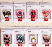 batman süpermarket yüzüğü toptan satış-Süper Kahraman Superman Batman Parmak Yüzük Telefon Tutucu Evrensel Akıllı Telefonlar Tabletler için 360 Grip stent Perakende kutu ile Esnek standı Tutucu