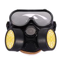qualidade do gás venda por atacado-Alta Qualidade de Segurança Anti-Poeira Spray de Gás Químico Dual Cartucho Respirador Máscara de Filtro de Pintura PVC Óculos Conjunto Preto