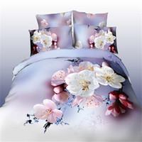 Wholesale White Full Bedroom Set - 2017 4pcs 3D bedding sets bedroom cherry Peach blossom white pink flower duvet cover bedsheet pillow cases queen size bedlinen