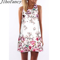 Wholesale digital print vintage dress - Jihofancy Women Sleeveless Dress 2018 Cute Summer Vintage Vestidos Boho Style Floral Digital Print Dresses