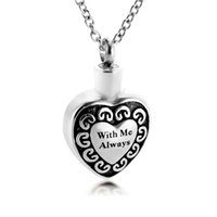 Wholesale necklaces for ashes resale online - Cremation Urn Necklace With Me Always Keepsake Jewelry for Ashes Memorial Ash Locket Pendant funeral Sympathy gift