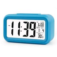 настольные электроники оптовых-Digital Alarm Clock Large HD Display Snooze Smart Soft Light Progressive Alarm Electronic Desktop Digital Table Clocks New Blue