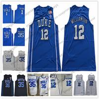 Wholesale collar sleeveless - Duke Blue Devils #12 Zion Williamson 1 Trevon Duval Bagley Royal Blue White Round Collar 2018 Black College Basketball cheap Jerseys S-3XL