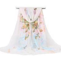 nuevas hermosas bufandas al por mayor-2018 Primavera y verano nuevo estilo elegante orquídeas de jade pañuelos de gasa de seda ultra ligeros Las mujeres tienen un hermoso chal cubierto de sol