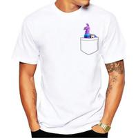 Wholesale sublimation shirt printing - fortnite llama in pocket funny tshirt men 2018 summer new white short sleeve casual homme t shirt no glue sublimation print