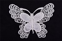 Wholesale wholesale lace motifs - 100pcs lot butterfly patches Embroidered Venise Venice butterfly Motif Sew Lace Applique Patch Craft black and white