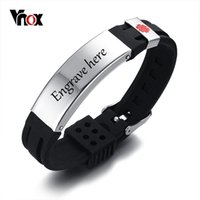 kostenlos tv watching großhandel-Vnox Frei 15mm Medical Alert ID Identifikation Armband für Männer Frauen Silikon Edelstahl Uhrenarmband Einstellbar