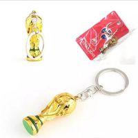 Wholesale mini worlds - European Champions Cup Keychain 2018 Russia FIFA World Cup Trophy Shape Resin Key Buckle Anti Wear Mini Keys Ring Fans Souvenirs DHL