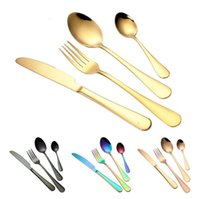 Wholesale flatware forks - 4 Colors high-grade gold cutlery flatware set spoon fork knife tea spoon stainless steel dinnerware set luxury cutlery tableware set