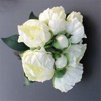 ingrosso rose di peonia falso-Matrimonio Bouquet di fiori di rose finte Bouquet Real Touch PU Peonia 8 Capolino Fiori artificiali per la decorazione di nozze Decorazioni per la casa