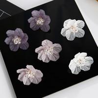 Wholesale Korean Handmade Earrings - fashionable acrylic Stud earrings Korean version of handmade luxury crystal shell flower 1 pair