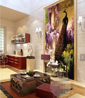 Wholesale Peacock Wall Paper - wall paper 3d art mural HD Continental Classic Peacock dove covering Home Decor Modern Wall Painting For Living Room wallpaper