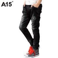 meninos de 12 anos venda por atacado-A15 Crianças Calças de Brim Calças de Cowboy Calças Jeans Crianças Meninos Calças de Brim Meninos 2017 Hot Design Roupas Adolescentes Idade 6 8 10 12 14 Ano