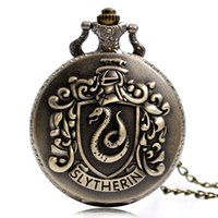 Wholesale Cool Pocket Watches - Full Hunter Vintage Movie Extension Slytherin Theme Pocket Watch Cool Children Pendant Clock Gift with Bronze Necklace Chain