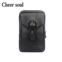 Wholesale hand wallet for mobile - 100% guarantee genuine leather fashion men waist packs casual mobile phone wallet bags for men waist bag hand pack