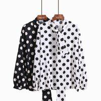 Nouveau design mode femmes arc laçage stand col manches longues noir blanc  à pois en mousseline de soie lâche chemisier chemise tops a1d97b6d5a73