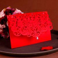 carton rouge de chine achat en gros de-Fournitures de décoration de mariage de luxe Chine Blanc Rouge Laser Cut Invitations De Mariage De Mariage Élégant Cartes D'invitation De Mariage 25pcs