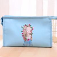 Wholesale bedding sets for girls - Cartoon Pattern Multifunctional Cosmetic Storage Bag Travel Portable Wash Bag for Girls Zip Bathroom Organizer