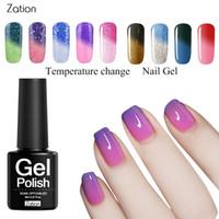 basis deckschicht uv großhandel-Zation Chameleon Temperaturwechsel Nail Art Gel Nagellack UV Decklack UV LED Tränkthermo 8ML