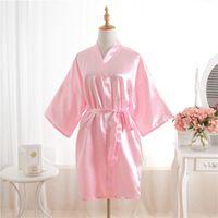 горячие розовые платья невесты оптовых-Hot Women robe Pink Silk Satin Robes Wedding Bridesmaid Bride Gown kimono Solid robe One size fit S-XXL