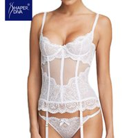 top corset de encaje blanco nupcial al por mayor-Shaper Diva blanco Overbust corsé sexy See Through Mesh Slimming Slimming lingerie Sexy Lace up Ribbon Lencería Corset Tops
