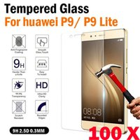 huawei lcd cam toptan satış-200 adet Sertleştirilmiş Cam Ekran Koruyucu Anti-paramparça LCD Güvenli Guard Temperli Film Huawei Nova P9 Mate 7 Hornor8 P10