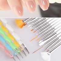 Wholesale pcs set nail art brush resale online - 20 Nail Art Manicure Painting Polish Brush and Dotting Pen Tool Salon Design Set Dotting Painting Drawing Polish Brushes Tools YYA1105
