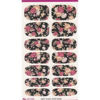bewässerte rose blume großhandel-K5708B Wassertransfer Nails Art Sticker Pink Red Rose Blumen Design Nail Sticker Maniküre Dekor Werkzeuge Cover Nail Wraps Decals