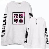 erkek çocuklar kara hoodies toptan satış-İlkbahar Sonbahar Kadınlar Bangtan Boys Albümü Fanlar Giyim Gri Beyaz Siyah Renk Rahat Hoodies Çin Mektuplar Baskılı Tops