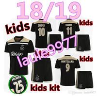 uniforme de bebe de futbol al por mayor-Calidad tailandesa 2018 2019 Ajax FC niños kits + calcetines camiseta de fútbol 18 19 KLAASSEN FISCHEA BAZOER MILIK uniformes camiseta bebé Ajax FC camiseta de fútbol
