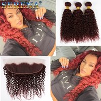 Wholesale 99j curly weave online - Brazilian J Human Hair Weave Virgin Hair Extension Deep Wave Kinky Curly Wine Red Bundles Burgundy Hair With x4 Lace Frontal
