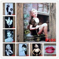 стикер стены хепберн оптовых-Мэрилин Монро Одри Хепберн известная звезда старинные ремесло олова знак ретро металл живопись плакат бар паб знаки стены искусства стикер