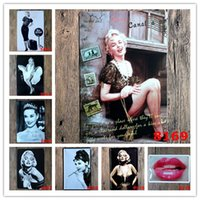 ingrosso marilyn monroe tin metal signs-Marilyn Monroe Audrey Hepburn Famosa stella Vintage Craft Tin Sign Retro pittura in metallo Poster Bar Pub Signs Wall Art Sticker