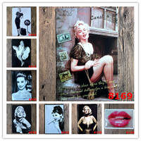 monroe çıkartmaları toptan satış-Marilyn Monroe Audrey Hepburn Ünlü yıldız Vintage Zanaat Kalay Işareti Retro Metal Boyama Posteri Bar Pub İşaretler Wall Art Sticker