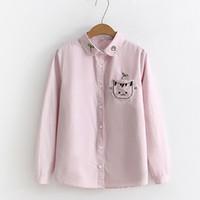 Wholesale white peter pan blouse - Peter Pan Collar Blouses Women Long Sleeve Cat Embroidery On Pocket Casual Girls Cute Shirts Tops Female 2018 Blusas Feminina