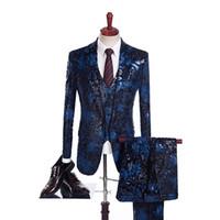 ingrosso piccola cravatta nera-Abiti da sposa Retro Blue Black jacquard Uomini abito su monopetto intaglio risvolto Blazer feste (Jacket + Pants + Vest)