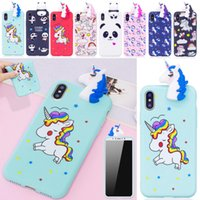ingrosso casi cute del telefono del silicone lg-Cute 3D Cartoon Unicorn Custodia per cellulare in morbido silicone TPU per iPhone X 8 8 Plus 7 6 Plus