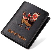 Wholesale cool business card holders - Gulf of tonkin wallet Cool word purse Leisure street short long leather cash note case Money notecase Loose change burse bag Card holders