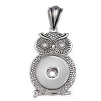 baykuş şeklindeki düğmeler toptan satış-Rhinestone Baykuş şekli Zencefil Snap Düğmesi Takı Kolye Kolye Kadınlar Için Değiştirilebilir Charm Takı (fit 18mm düğme) IB551