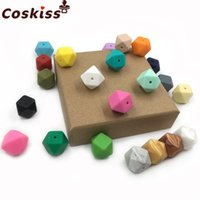 Wholesale Mixed Geometric Necklace - 17mm(0.67 inch) 50pcs Mixed Color Geometric Loose Silicone Beads BPA free Chew Beads Supplies for DIY Silicone Teething Necklace