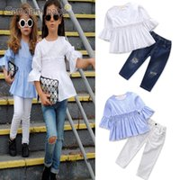 Wholesale girls fashion tights winter resale online - Baby Girls Sister Outfits Pagoda Sleeve Tighter Loose Corset Ripped Jeans Vertical Striped Blouse Ruffle Frills Fashion Clothing Sets T T
