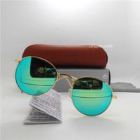 sonnenbrille frauen braun großhandel-Discolour Glaslinse Sonnenbrille Männer Frauen Kreis Sonnenbrille Markendesigner Hohe Qualität Brillen Runde 51 MM Goggle Spiegel Mit Braunem Fall