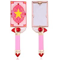 ingrosso specchio anime-Big Metal Hand Hold Trucco Specchio Square Handheld Handheld Anime Cardcaptor Sakura Star Card Cosmetic Dressing Cute Pink Mirror