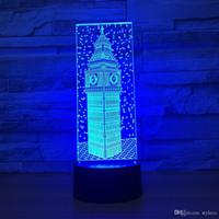 mejores luces de panel led al por mayor-Envío gratis ilusión óptica luz panel acrílico 7 cambio de color mejor regalo noche LED lámpara de mesa mesa de iluminación dormitorio decoración