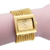 ingrosso orologio bracciale bling-Luxury Diamond Bracelet Watch Women Bling Crystal Watches Vintage formale Wedding Party Quartz-orologio Moda Relogio Femilino Uhr