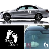 Wholesale baby board window stickers resale online - 1PC New DIY Kawaii Reflective Baby on Board Vinyl Car Graphics Window Vehicle Sticker Decal Auto Car Sticker Car Styling